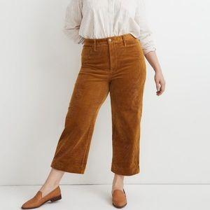 Madewell Slim Emmett Wide Leg Crop Corduroy 33